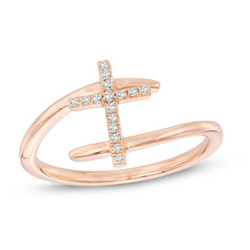Diamond Accent Cross Bypass Ring in 10K Rose Gold