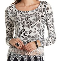Geometric Print Top with Crochet Hem by Charlotte Russe