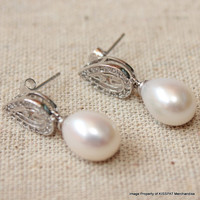 Teardrop Pearl Earrings,Wedding Bridal Freshwater Earring Studs,Natural Bridesmaids Jewelry Gift,Sterling Silver, 9mm Real Rice Pearls