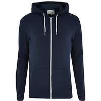 River Island MensNavy cotton zip through hoodie
