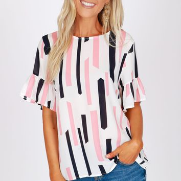 Geometric Ruffled Sleeve Top Pink
