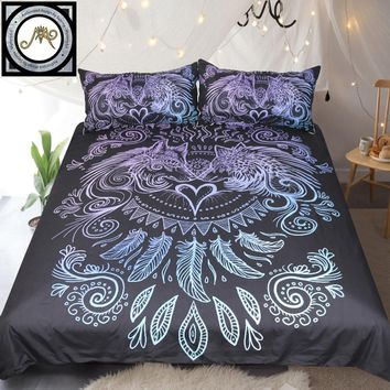 Wolves Heart by SunimaArt Bedding Set Blue and Purple Duvet Cover Feathers Boho Bed Set 3-Piece Black Home Textiles For Couples