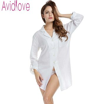Avidlove Sleepshirt Women Cotton Nightwear Blouse Sexy White Shirt Long Sleeve Shirt Solid Loose Sleepwear Sleep & Lounge Cloth