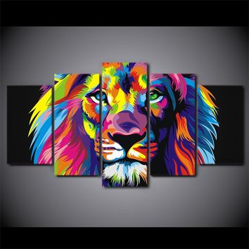 Abstract Lion Head 5 piece Canvas art HD Printed