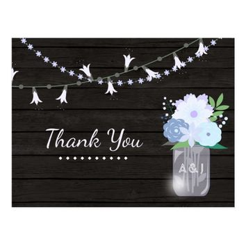 Rustic backyard mason jar Wedding Thank You Postcard