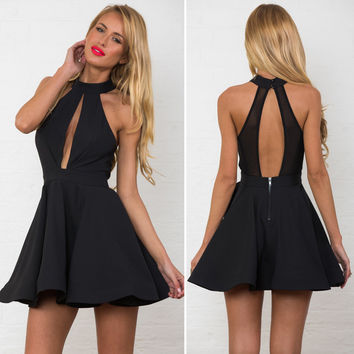 Sexy Hollow Out Empire Bear Shoulder Skater Short Dress