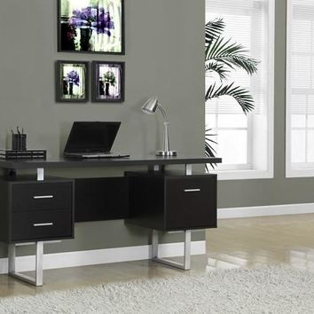 "Cappuccino Hollow-Core / Silver Metal 60""L Office Desk"
