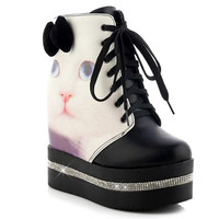 Black Boots With Cat Pattern and Bow Design