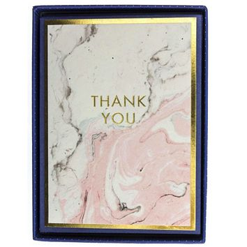 "Embellished Gold""Thank You"" Pink Marble Boxed Notecards"