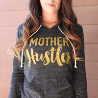 Mother Hustler Pullover Hoodie - Eco Black with Gold Print