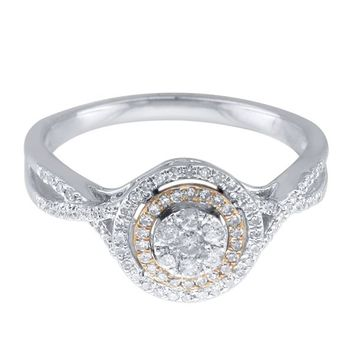 Mirabela® 1/3 ct. tw. Diamond Cluster Double Halo Ring Ring in Sterling Silver & 10K Gold