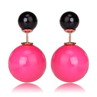 Gum Tee Mise en Style Tribal Earrings - Pastel Rose Pink and Black