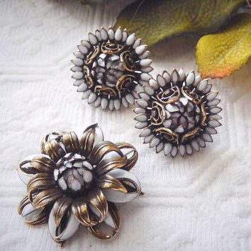 Vintage Antiqued Gold Bronze White Enamel Earrings & Brooch/Pin Set