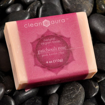 Patchouli Rose - Vegan Natural Soap With Pink Kaolin Clay