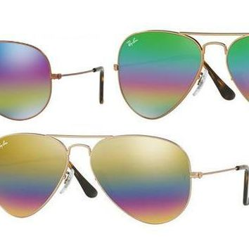 ALL NEW Rainbow Mirrored Lens Ray Ban Aviator Sunglasses RB3025