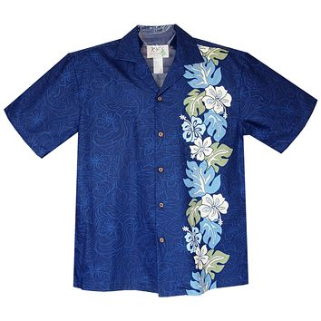 Surfer Hibiscus Navy Vertical Border Hawaiian Shirt