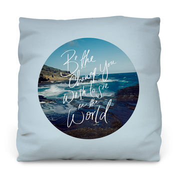 Be the Change Outdoor Throw Pillow