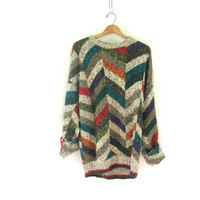 Vintage 80s abstract sweater. Bill Cosby sweater. Oversized sweater. color block sweater.