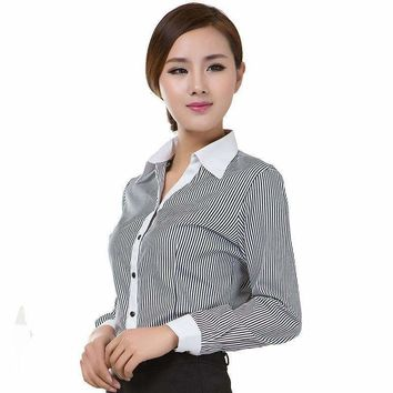 lady formal blouses stripe long sleeve turn down collar cotton occupational shirts ol style women tops ropa mujer