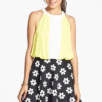 Lily White Pleat Colorblock Halter Top (Juniors)