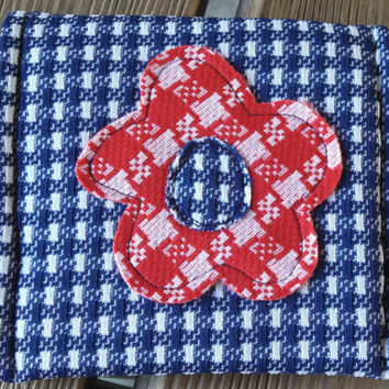 Textured Fabric Envelope Bag / Small Clutch / Pouch / Purse Organizer / Vintage Polyester / Flower Applique / Red Blue Houndstooth