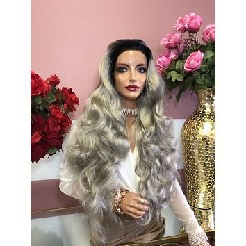 "Ombre' Ash Silver Gray Long Curly Lace Front Wig 28"" 0219"