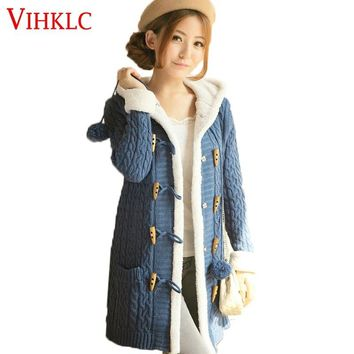 2018 New Winter Women Sweater coat Long sleeve Pure color Single Breasted Hooded Knitted Cardigan Women Sweater Warm Slim L149