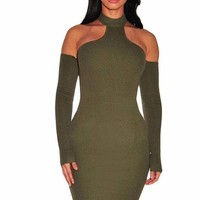Army Green Knit Ribbed Choker Off Shoulder Dress