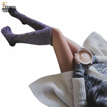 FEITONG Women Cable Thick Warm Knitted Long Boot Stocking with Plush Balls Over Knee Thigh High Stocking