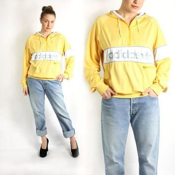 Vintage 70's 80's Adidas Yellow White Sport Track Hooded Jacket, Adidas Windbreaker, T