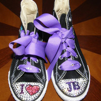 Custom Converses with Swarovski crystals.  Justin Bieber style sizes 11-3
