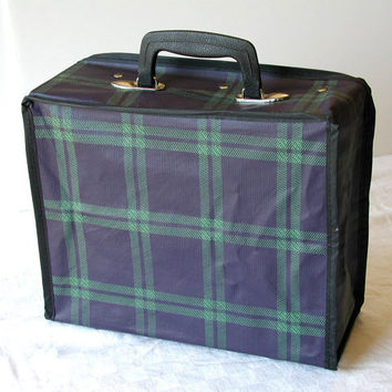 Vintage Small Suitcase -  Blue & Green Plaid LIttle Packer Foldable Case