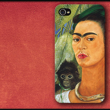 Self-Portrait with Monkey - Frida Kahlo Phone Case iPhone Cover