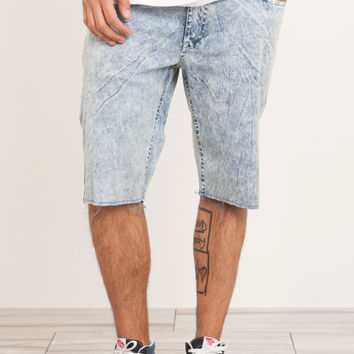 BLUE ACID WASH DENIM CUTOFF SHORT
