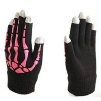 One Size Adult Winter Knit Smartphone Stretch Magic Touch Screen Gloves (Pink)
