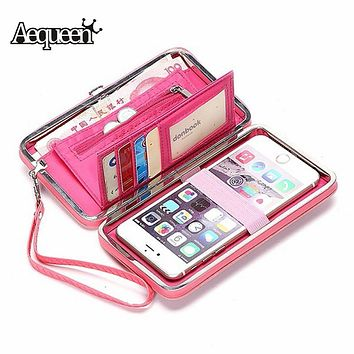 AEQUEEN Purse Wallets Women Money Clutch Bag Leather Long Purse Umbrella Ladies Coin Purses Pouch Girl Cellphone Pocket