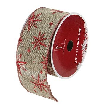 """Pack of 12 Red Star and Beige Burlap Wired Christmas Craft Ribbon Spools - 2.5"""" x 120 Yards Total"""