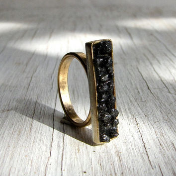 Black Diamond Ring 14kt by AustinModern on Etsy
