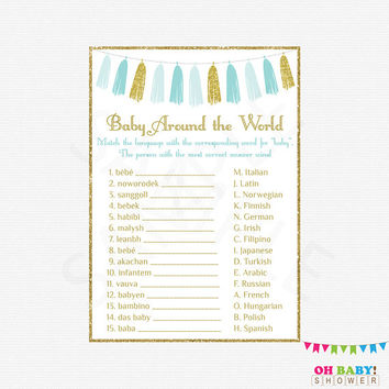 Baby Around the World, Baby Shower Games, Baby Shower Printables, Instant Download, Blue Gold Baby Shower Boy Baby Shower Sign Tassels TASBG