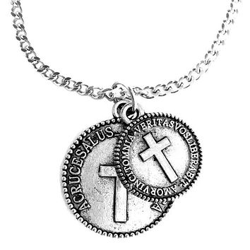 Cross Coins Pewter on Chain Necklace