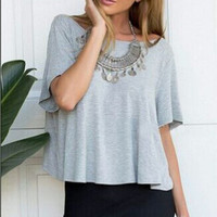 Gray Switch Back Tee