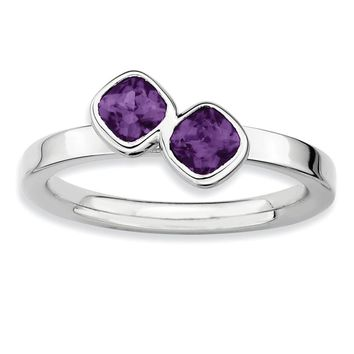 Sterling Silver & Amethyst Stackable 2 Stone Cushion-Cut Ring