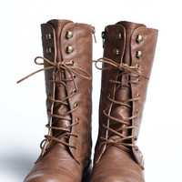 On the Base Military Lace Up Boot in Tan - $40.00 : ThreadSence, Women's Indie & Bohemian Clothing, Dresses, & Accessories