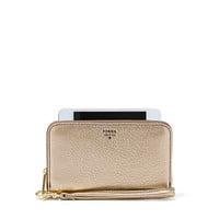 Sydney Zip Phone Wallet, Gold Metallic