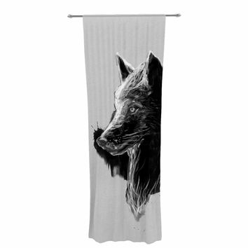 "Frederic Levy-Hadida ""Sumi Wolf"" Black White Animal Print Animals Illustration Painting Decorative Sheer Curtain"