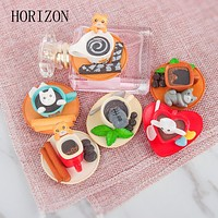 6Pcs/Set Kawaii Dessert Cat Miniature Terrarium Figurine