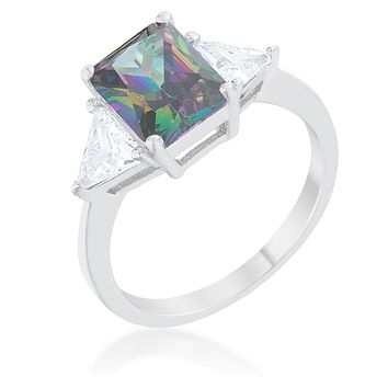 Delvani Mystic Fire Topaz Radiant-Cut Engagement Ring, Platinum
