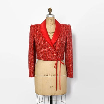 Vintage 80s VALENTINO Blazer / 1980s Cropped Red Tweed Wool & Satin Jacket