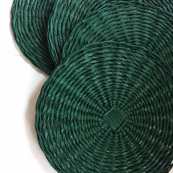 Vintage Wicker Circular Mats Large Woven Rattan Discs Set of 5 Forest Green Wall Decor Cottage Chic Home Decor Christmas Decoration