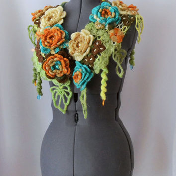 Crochet Warm Woman Scarf Pastel Turquoise Blue and Chocolate Mustard Flowers and Light Green Leaves  - Free Shipping ETSY